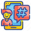 cellphone, hashtag, media, mobile, social, technology, word