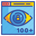 click, eye, focus, view, views, visibility, watch icon