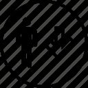 down, user, arrow, boss icon