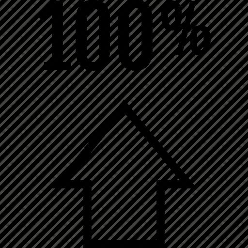 arrow, hundred, one icon