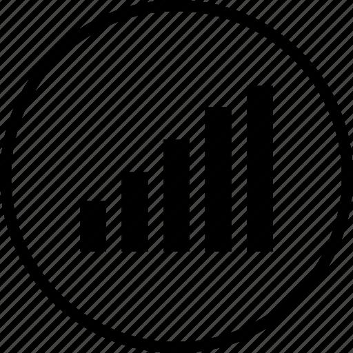 bars, data, graph, up icon