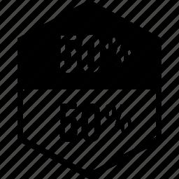 data, fifty, graphics, half, info icon