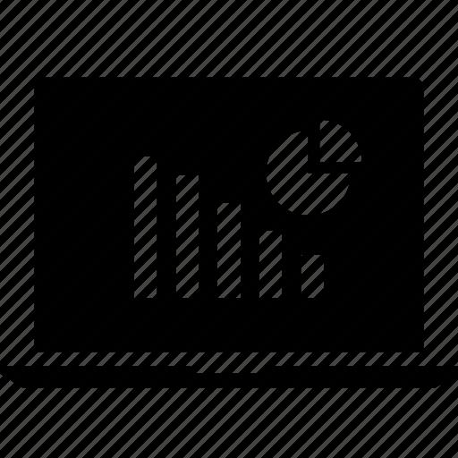 bars, data, graphics, info, laptop, pie icon
