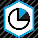 analytics, gfx, graphic, hexagon, information icon