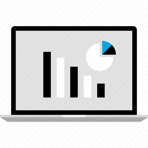 analytics, gfx, graphic, information, laptop, pc icon