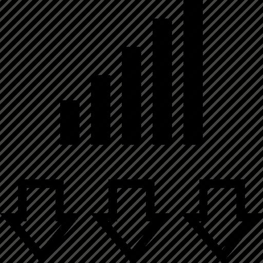 data, down, information icon