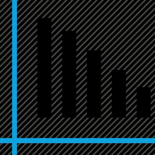 analytics, bars, down, gfx, graphic, information icon