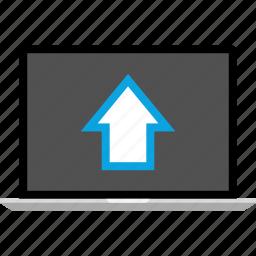 analytics, gfx, graphic, information, pc, up icon