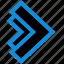 arrow, double, next, point, pointing icon