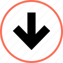 arrow, down, point