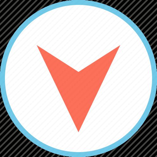 arrow, down, menu, point icon