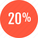analytics, analyze, data, info, percent, twenty icon