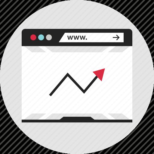 analytics, arrow, data, info, infographic, web, www icon