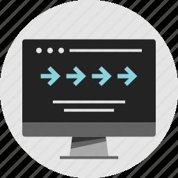 analytics, arrows, data, forward, info, infographic, progress icon