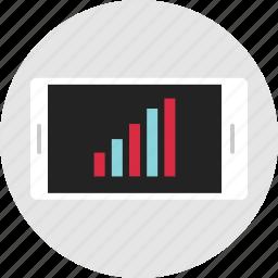 analytics, bars, data, info, infographic, mobile, phone icon