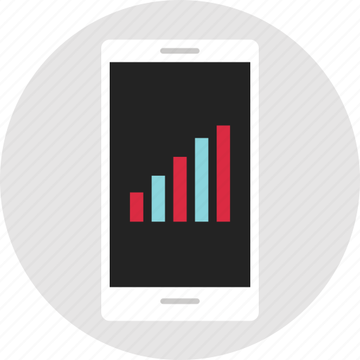 analytics, data, info, infographic, phone, up icon
