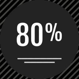 analytics, data, eighty, info, infographic, off, percent icon