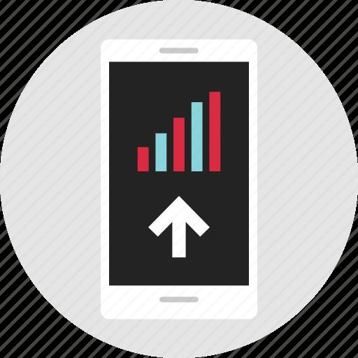 analytics, arrow, data, info, infographic, phone, up icon