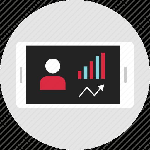 analytics, data, info, infographic, phone, rating, views icon