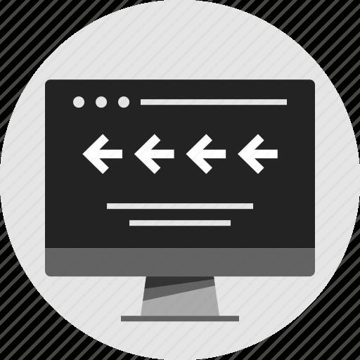 analytics, back, data, info, infographic, left, rewind icon