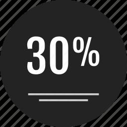 analytics, data, guardar, info, infographic, percent, save, thirty icon