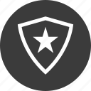 abstract, creative, design, favorite, secured, shield, star icon