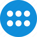 abstract, count, creative, design, dots, six icon