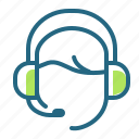 call center, headphones, headset, support icon