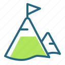 goal, mountain, peak, tourism icon