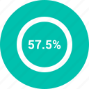 chart, diagram, fifty, percent, percentage, pie, seven icon