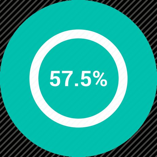 chart, diagram, fifty, percent, percentage, pie, seven icon