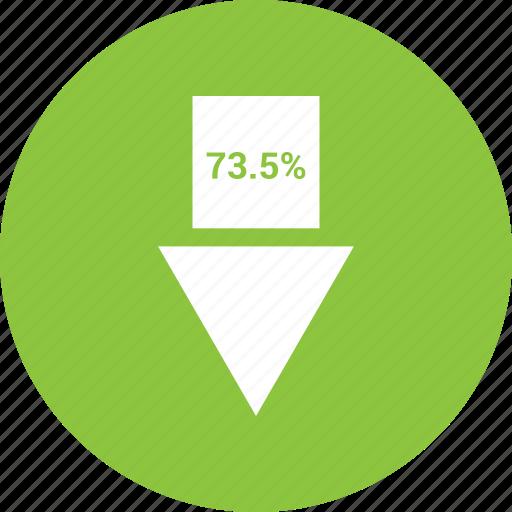 arrow, percent, percentage, seventy, three icon