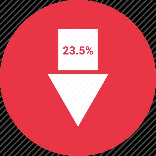 arrow, percent, percentage, three, twenty icon