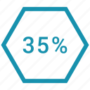 data, five, percent, thirty, web icon