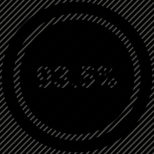 nine three, percent, rate, revenue icon