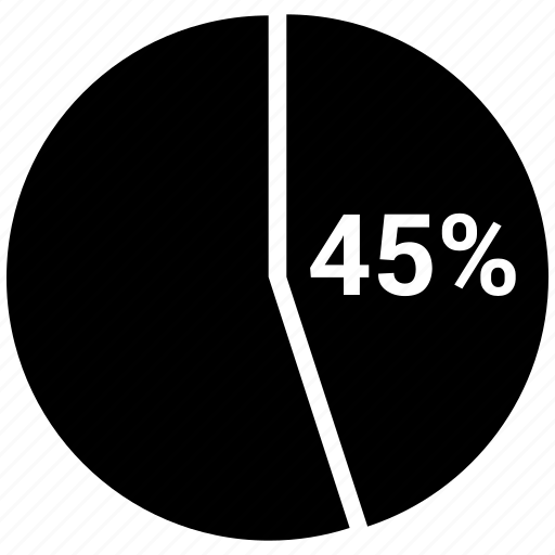 forty five, graph, pie, pie chart, pie graph, statistics icon