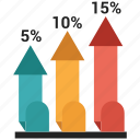 arrow, bar, chart, growth, infographic icon