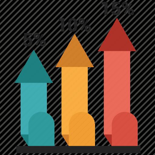 arrow, bar, chart, growth, infographic icon