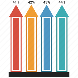 arrow, bar, growth chart, infographic icon
