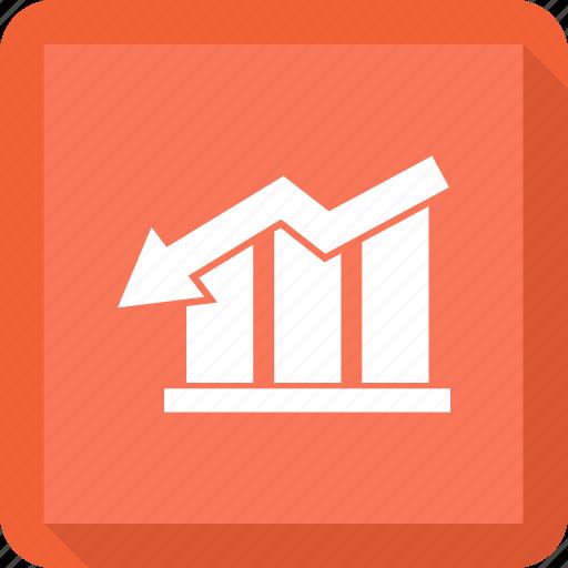 analytics, bar, chart, downbar, increase icon