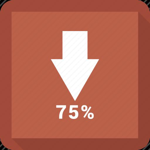 Down, increase, sventy five, bar, chart icon
