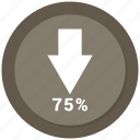 arrow, bar, bar chart, chart, diagram, down, seventy five icon