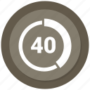 forty, graph, pie, pie chart, statistics icon