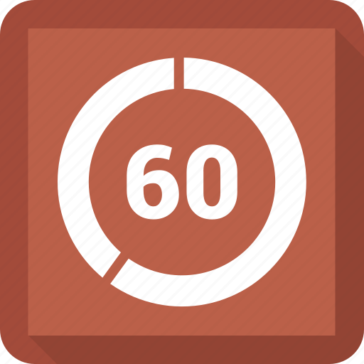 Sixty, circle, number icon