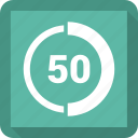 data, fifty, infographic, information icon