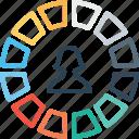 avatar, chart, female, graph, measure, performance, user