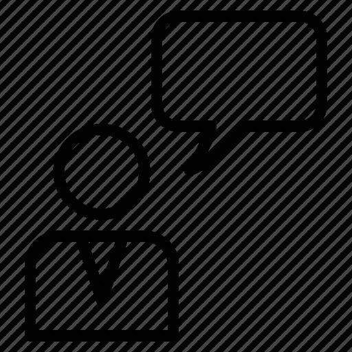 bubble, chat, idea, male, message, person, thinking icon