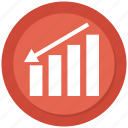 arrow, business, chart, down growth, infographic icon