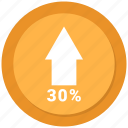 arrow, chart, growth, increase, thirty icon