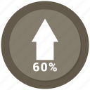 arrow, chart, growth, increase, sixty icon